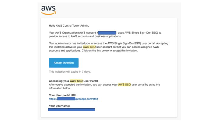 Invitation to Access AWS SSO User Portal
